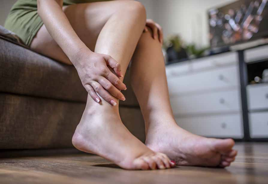 woman suffering from shin splint